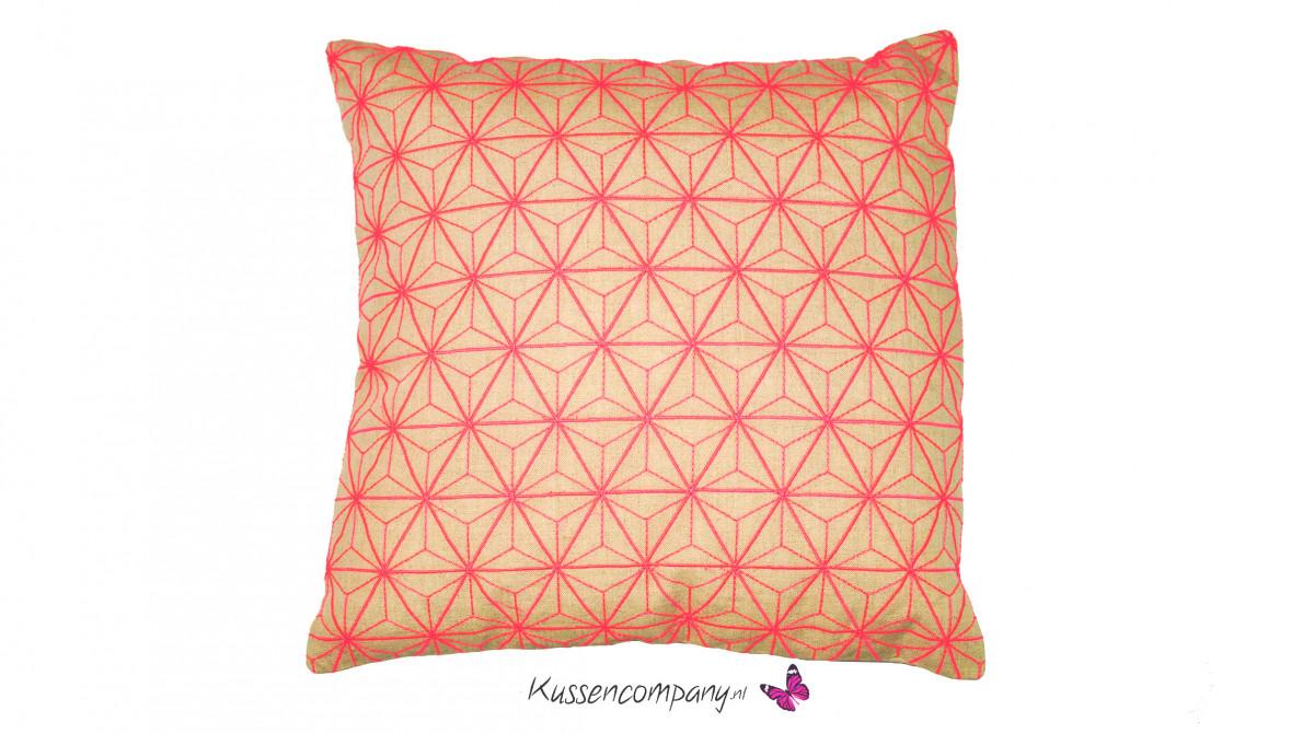 Kussen fluor geometri roze 45 x 45 cm sierkussens alle maten binnenkussens de kussencompany - Verpakking kussen x ...