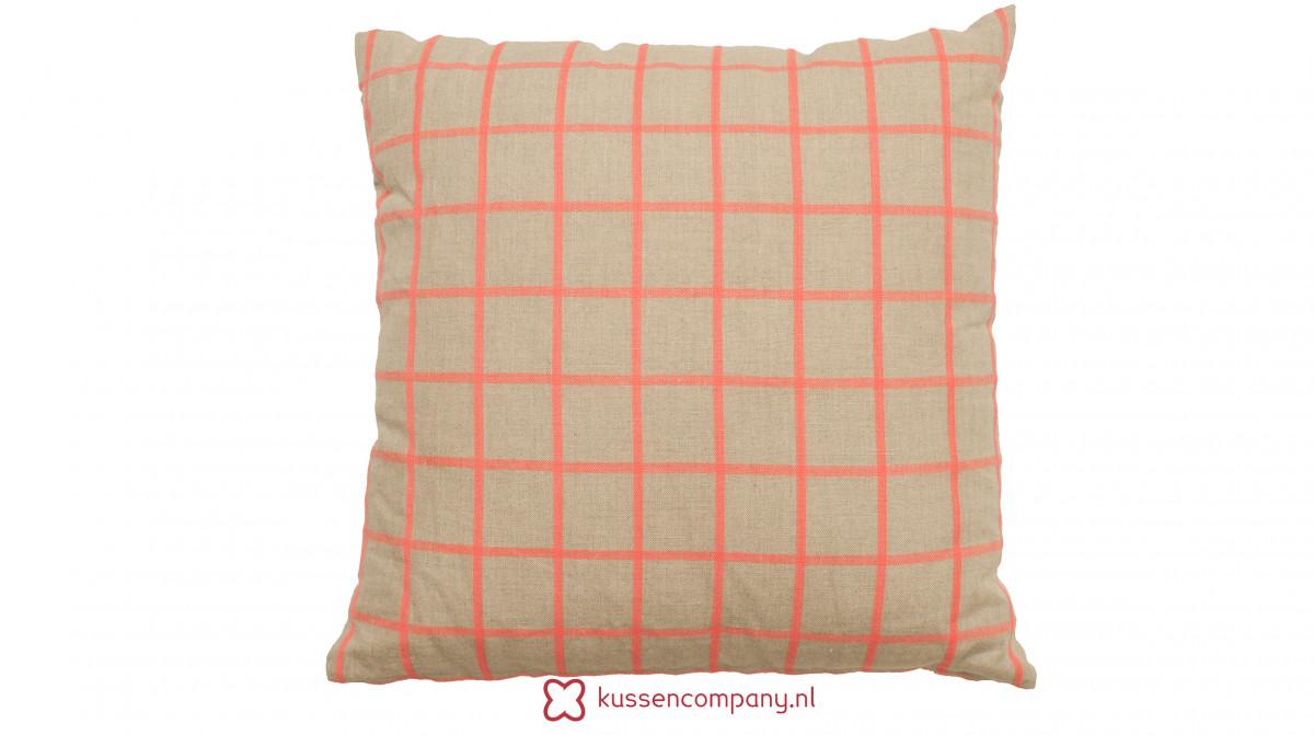Aanbieding: Kussen Roze Neon Ruit Linnen 45 x 45 CM - Borduur - Print ...