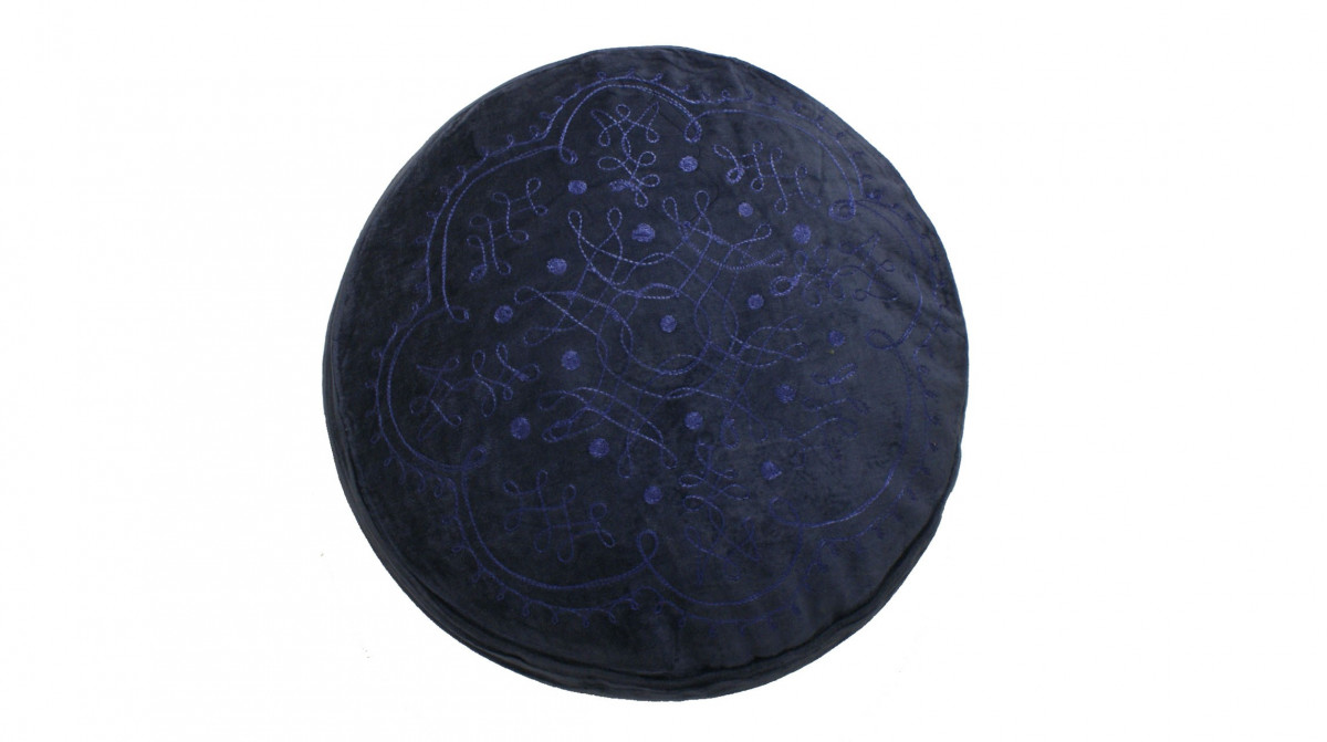 Kussen rond blauw velours 45 cm sierkussens alle maten for Lang rond kussen