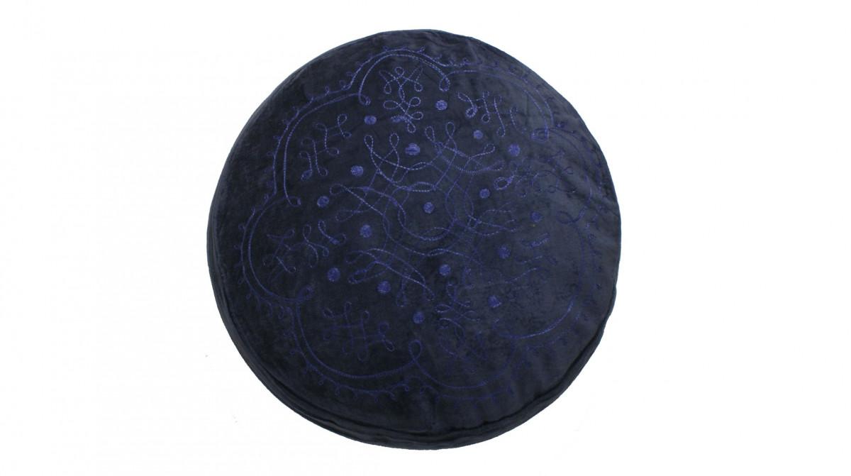 Kussen rond blauw velours 45 cm - Sierkussens - kussens, poefen ...