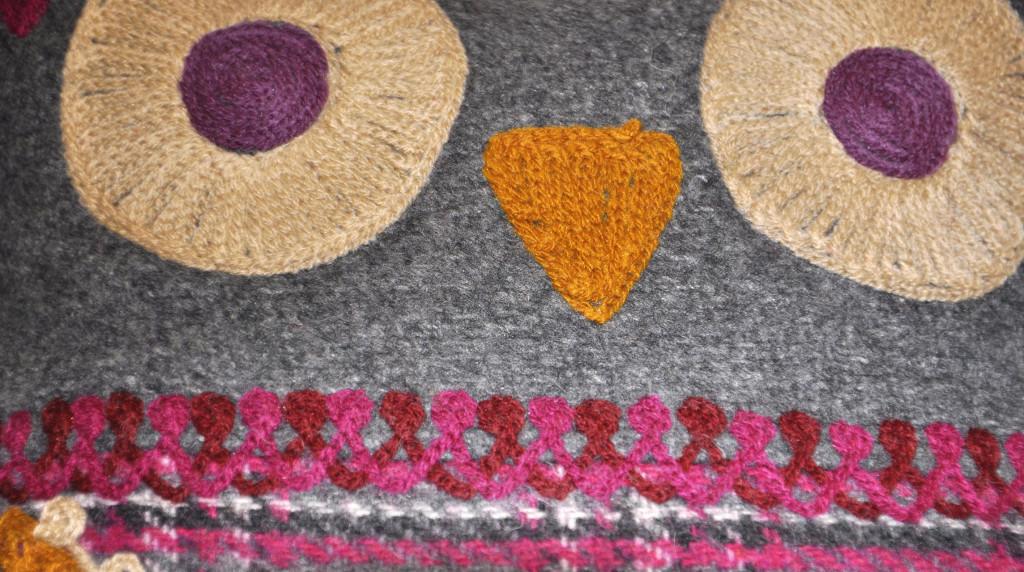 Kussen uil bloem fuchsia roze met grijze uil uilen leuk van jorien