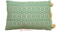 Aanbieding: Kussen Print Groen-Wit Touw 40 x 60 cm